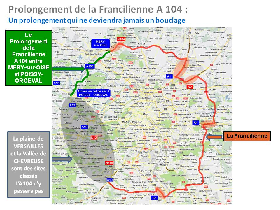 Carte prolongement de la Francilienne