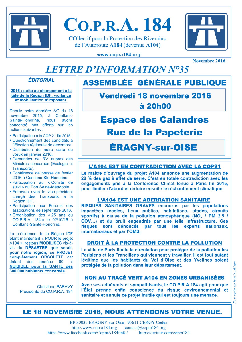 Lettre d'Information CO.P.R.A. 184 n°35 - Recto