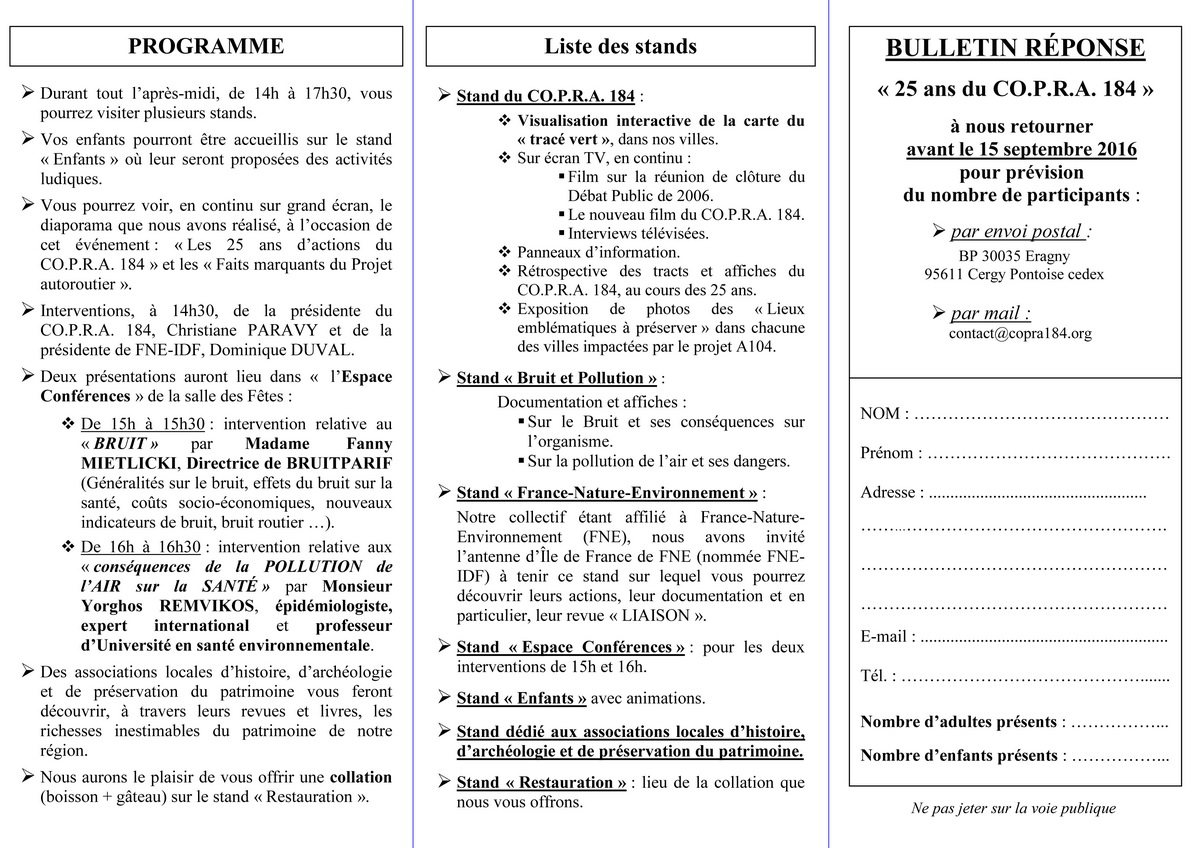 Invitation 25 Ans du CO.P.R.A. 184 _ Verso