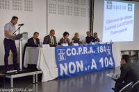 Laurent LANTOINE, Porte-parole du CO.P.R.A. 184 prononce son discours de clôture de l'AGO
